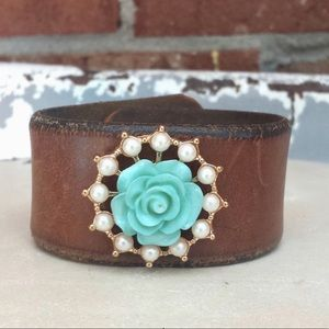 Leather Florette Cuff Bracelet